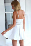 White A Line Sweetheart Spaghetti Sleeveless Mid Back Short Homecoming Dress H272