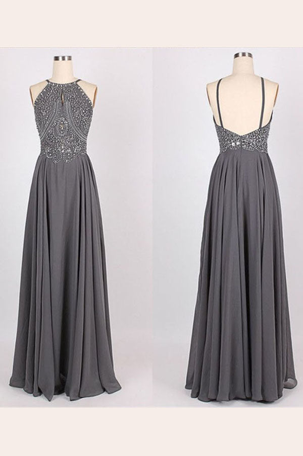 b68fa2c515 Gray A Line Floor Length Halter Sleeveless Backless Beading Prom Dress