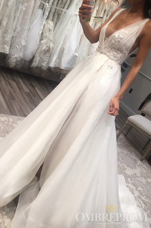 Chic V Neck Sleeveless Tulle Split Side Wedding Dresses with Appliques W574