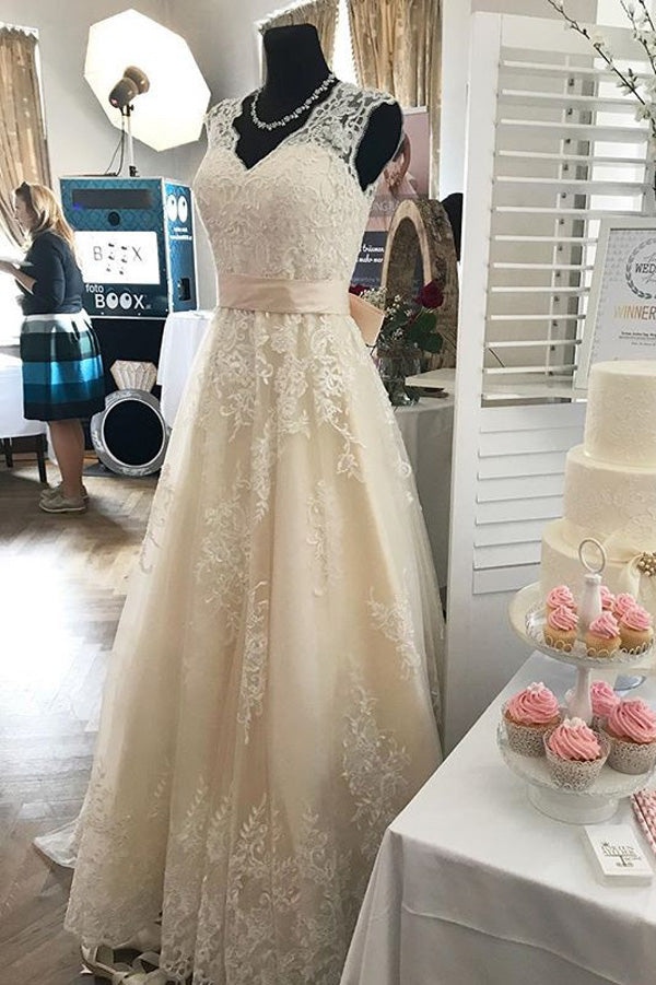 Pink A Line Court Train V Neck Sleeveless Lace Appliques Wedding Dress,Cheap Wedding Dress W255 - Ombreprom