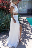 White Two Piece A Line Sweep Train Jewel Neck Long Sleeve Lace Side Slit Prom Dress,Party Dress P139 - Ombreprom
