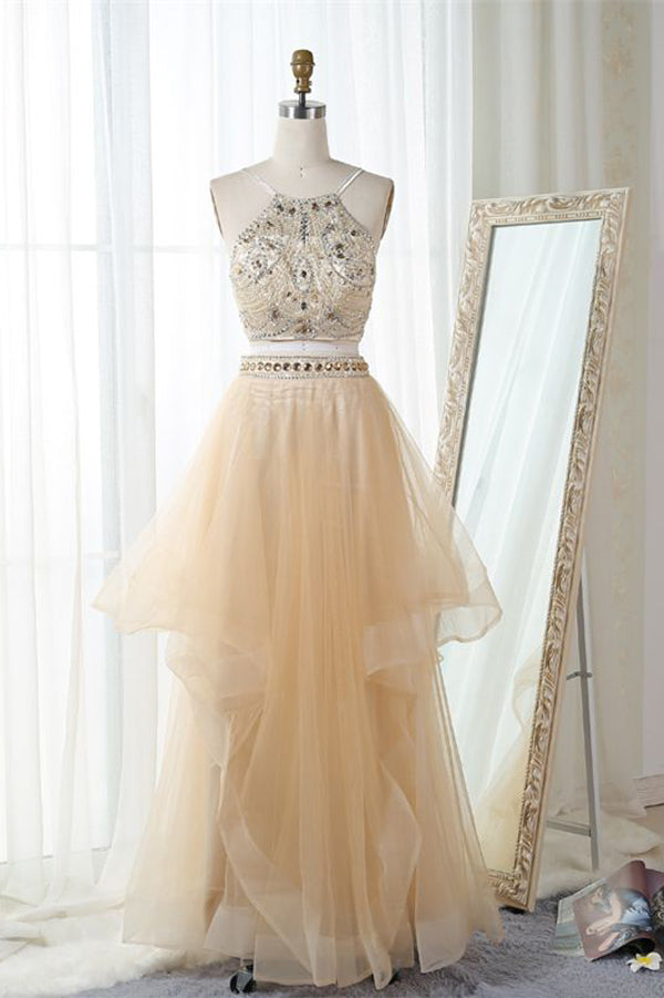 Pink Two Piece Floor Length Halter Sleeveless Backless Beading Prom Dress,Formal Dress P108 - Ombreprom