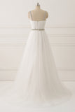 White A Line Brush Train Sweetheart Sleeveless Beading Wedding Dress,Beach Wedding Dress W205