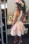 Pink Halter Sleeveless Homecoming Dress,Appliques Keyhole Back Short/Mini Prom Dress H233 - Ombreprom
