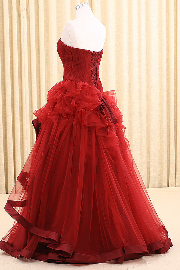Red A Line Floor Length Sweetheart Strapless Sleeveless Mid Back Ruffles Prom Dress,Party Dress P126 - Ombreprom