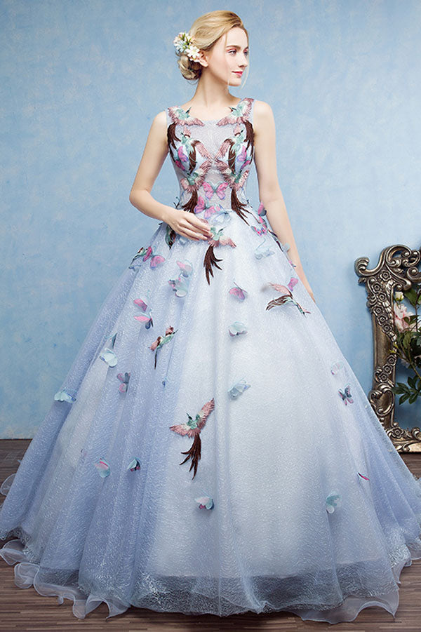 Ball Gown Court Train Halter Sleeveless Lace Up Embroidery Prom Dress,Wedding Dress P442 - Ombreprom