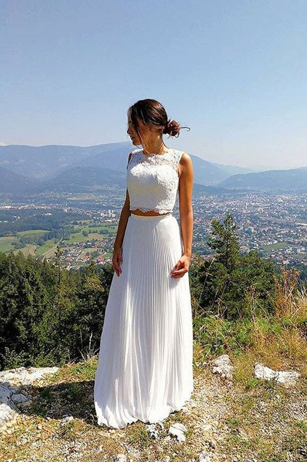 White Two Piece A Line Floor Length Sleeveless Applique Wedding Dress,Beach Wedding Dress