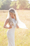 Chic Tulle With Pearls Short Wedding Veils V31