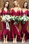 Chic Mermaid V Neck Ruffles Spaghetti Straps Sleeveless Bridesmaid Dress B435