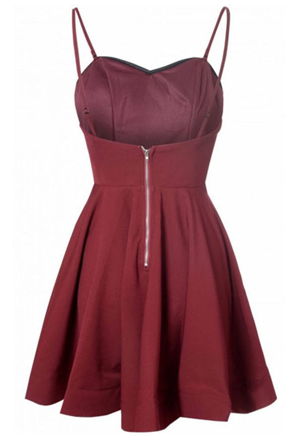 Burgundy A Line Sweetheart Spqghetti Sleeveless Homecoming Dress,Mid Back Short/Mini Prom Dress H250 - Ombreprom