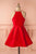 Red A Line Halter Sleeveless Homecoming Dress,Short/Mini Prom Dress H251 - Ombreprom