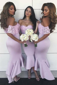Sexy Strapless Lace Satin Short Sleeves Long Bridesmaid Dresses B359