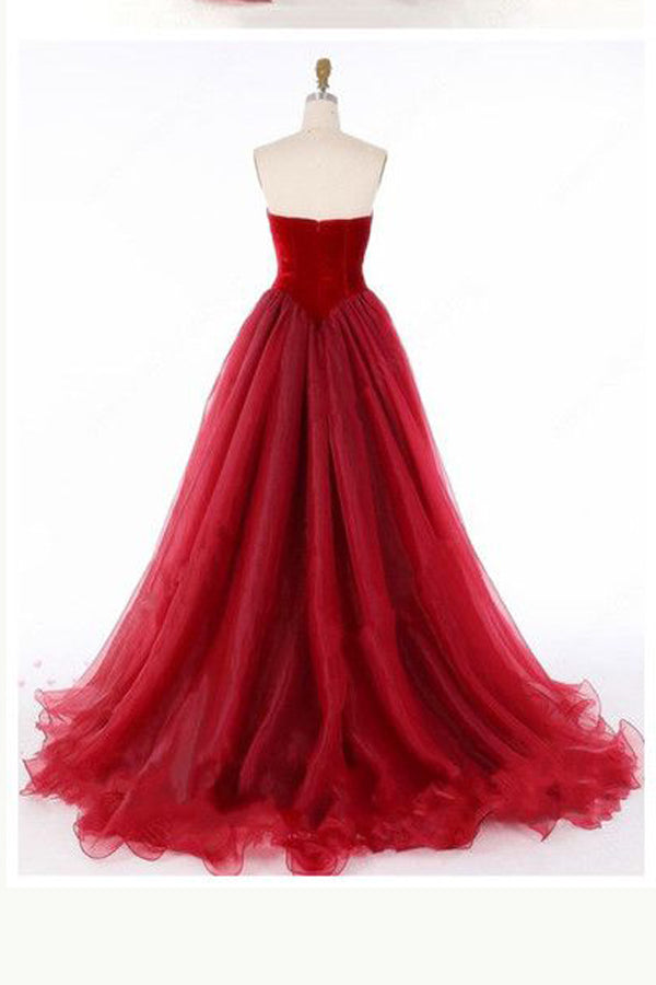 Burgundy A Line Sweep Train Sweetheart Strapless Sleeveless Mid Back Layers Tulle Prom Dress P117 - Ombreprom