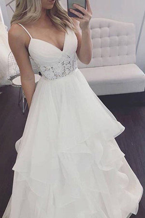 5d2db40f9a9e0 Sweetheart Spaghetti Cheap Wedding Gowns,Open Back Ruffles Beach Wedding  Dress W106 - Ombreprom