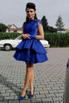 Royal Blue Jewel Neck Long Sleeve Homecoming Dress,Appliques Short/Mini Prom Dress H243 - Ombreprom