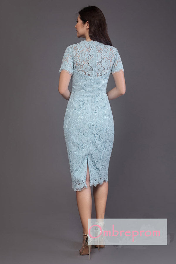 Blue A Line Asymmetrical Lace Cheap Bridesmaid Dresses,Wedding Party Dress B332 - Ombreprom