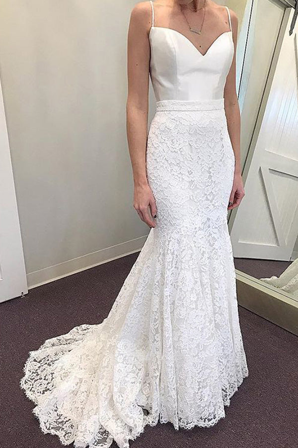 Simple Sweetheart Sleeveless Spaghetti Straps Satin Lace Mermaid Wedding Dress W403