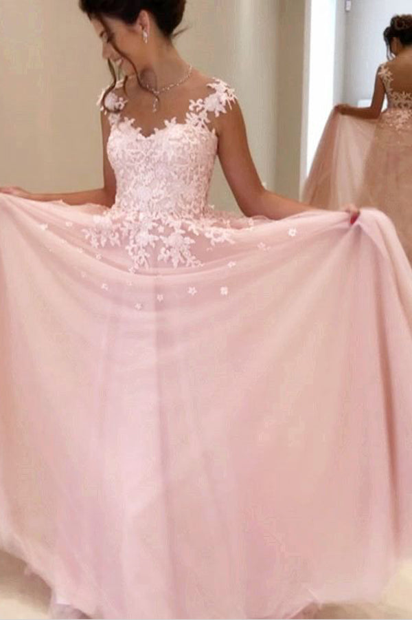Pink A Line/Princess Floor Length V Neck Sleevelss Mid Back Appliques Evening/Prom Dress P53 - Ombreprom