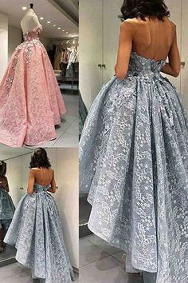 A Line Asymmetrical Sweetheart Strapless Sleeveless Mid Back Appliques Evening/Prom Dress P66 - Ombreprom