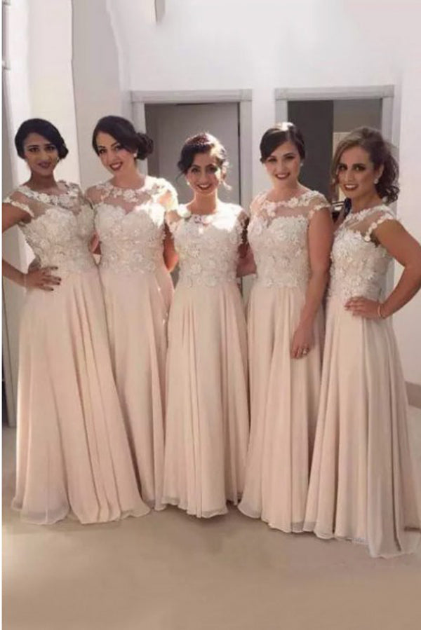 Unique Round Neck Lace Appliques Sleeveless Long Bridesmaid Dress B442