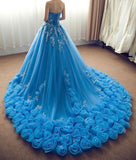 Ball Gown Chapel Train Off Shoulder Floral Lace Up Wedding Gowns,Wedding Dress W253 - Ombreprom