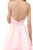 Pink A Line Halter Sleeveless Homecoming Dress,Backless Short/Mini Prom Dress H252 - Ombreprom