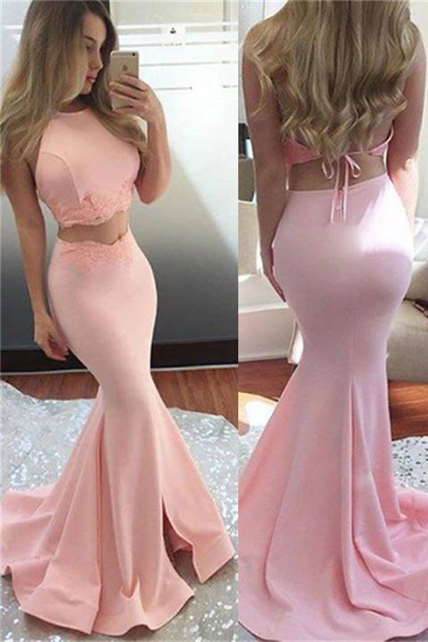 Lavender Two Piece Mermaid Halter Sleeveless Backless Split Front Evening/Prom Dress P80