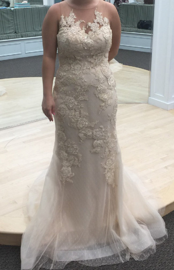 Trumpet Court Train Sheer Neck Sleeveless Appliques Wedding Gown,Cheap Wedding Dress W174 - Ombreprom