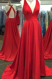 Red A Line Sweep Train Deep V Neck Sleeveless X Back Side Slit Prom Dress,Evening Dress P85 - Ombreprom