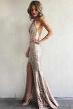 Sheath Brush Train Deep V Neck Sleeveless Backless Sparkle Prom Dress,Party Dress P450 - Ombreprom