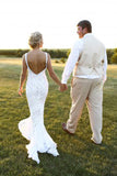 V Neck Sheath Wedding Gowns,Open Back Appliques Beach Wedding Dress OMW84