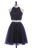 Navy Blue Two Piece Halter Sleeveless Keyhole Back Beading Short Homecoming Dress H271 - Ombreprom