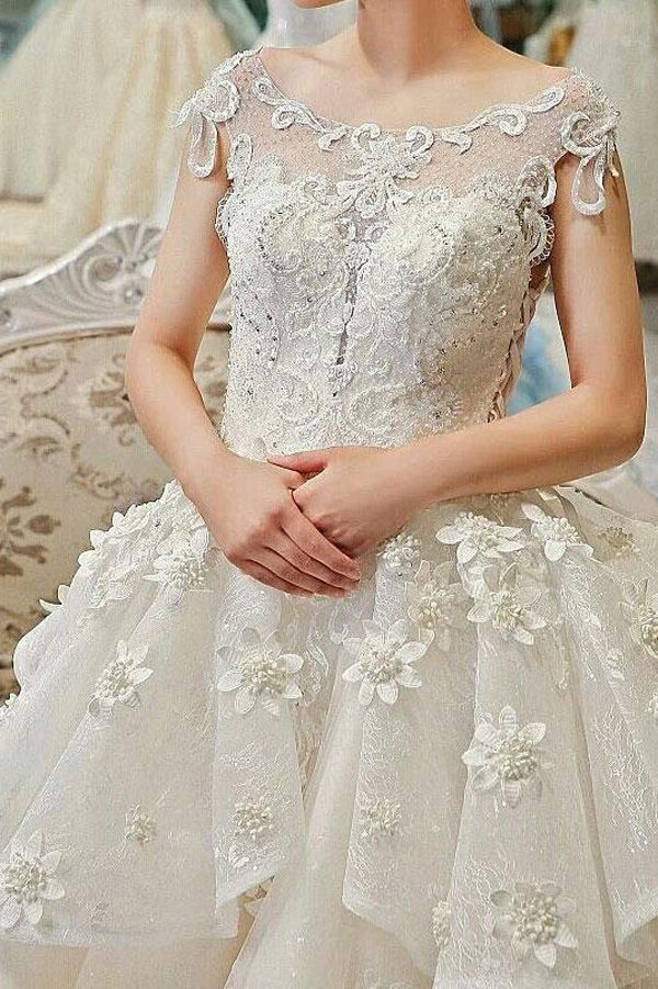 Ivory Ball Gown Chapel Train Capped Sleeve Appliques Beading Wedding Dress,Wedding Gowns