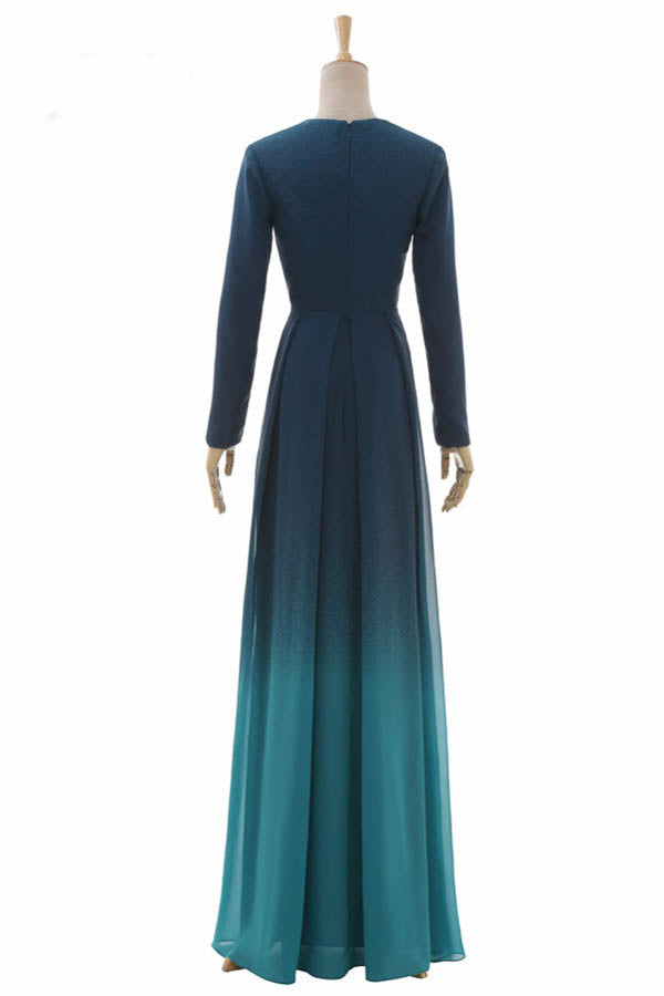 Ombre A Line Floor Length Deep V Neck Long Sleeve Prom Dress,Bridesmaid Dress O05 - Ombreprom