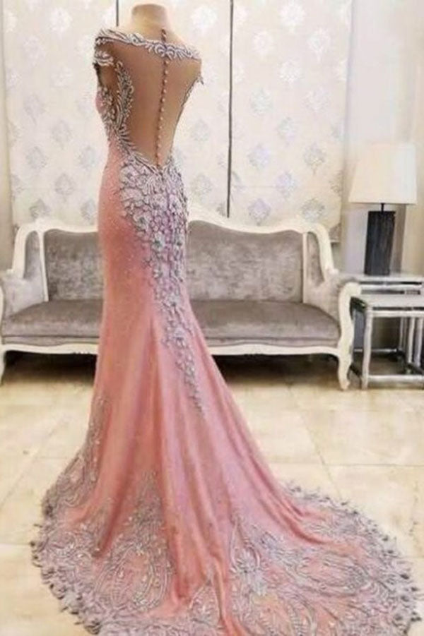 Pink Sheath Court Train Capped Sleeve Sheer Back Beading Prom Dress,Party Dress P156 - Ombreprom