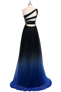 Ombre A Line Sweep Train One Shoulder Sleeveless Open Back Beading Prom Dress,Formal Dress O08 - Ombreprom