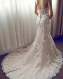 Pink Mermaid Court Train Sweetheart Sleeveless Beading Appliques Wedding Dress,Cheap Wedding Dress