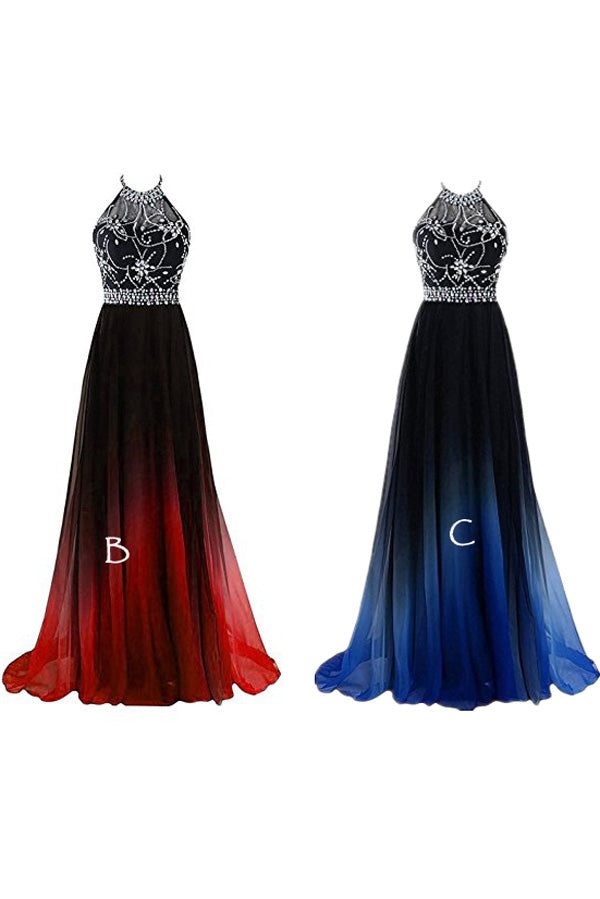 Ombre A Line Brush Train Halter Sleeveless Beading Chiffon Lace Up Prom Dress,Formal Dress O19