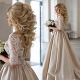 A Line Sweep Train Deep V Neck Half Sleeve Sheer Back Lace Long Prom Dress,Party Dress P209 - Ombreprom
