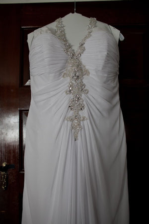 A Line Floor Length Halter Open Back Cheap Wedding Gown,Beach Wedding Dress W143 - Ombreprom