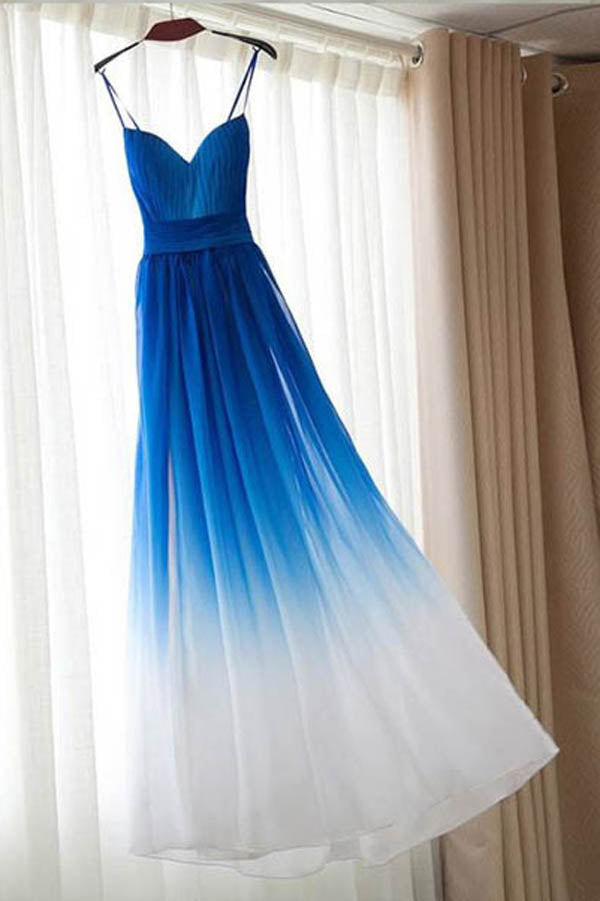 Ombre Blue Sweetheart Spaghetti Sleeveless Prom Dress,A Line Floor Length Evening Dress OMP36 - Ombreprom