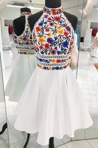 A-line Halter Floral Embroidery White Short Homecoming Dress M764