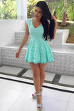 Mint Capped Sleeve Homecoming Dress,A Line Hollow Short/Mid Prom Dress H226 - Ombreprom
