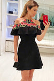 A-Line Jewel Short Sleeves Black Homecoming Dress with Appliques M715