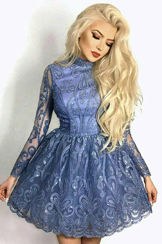 Modest A-Line High Neck Blue Short Prom Dresses Lace Homecoming Dress M716