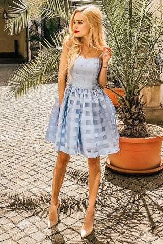 Spaghetti Straps A-Line Blue Homecoming Dresses Tulle Party Dress M713