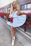Chic Spaghetti Straps Light Blue Homecoming Dress with Ruffles M708