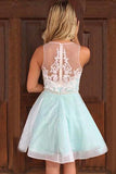 A-Line V-Neck Appliques Mint Green Short Homecoming Dress With Beaded M783