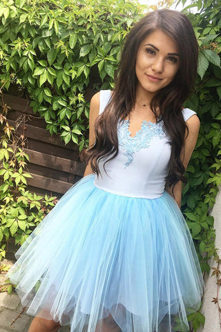 Chic Blue Short Prom Dresses Tulle Homecoming Dress with Appliques M729