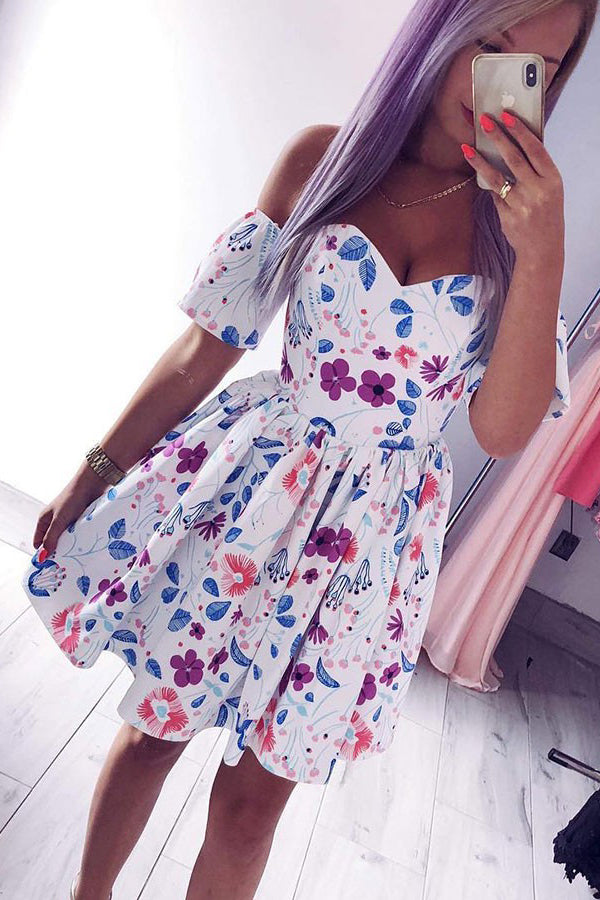 Off-the-Shoulder White Short Sleeves Floral Print Homecoming Dress M711